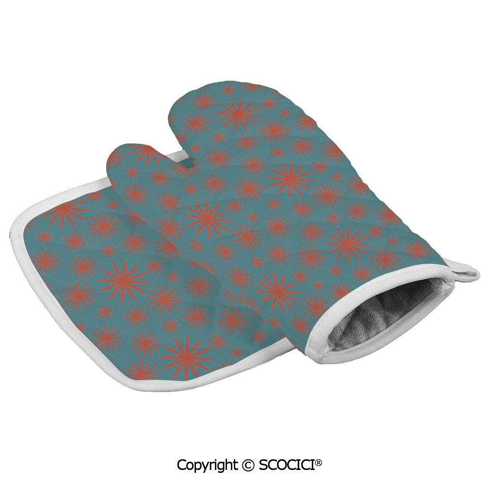 SCOCICI Oven Mitts Glove - Retro Vintage 60s 50s Inspired Flower on a Blue Tone Backdrop Heat Resistant, Handle Hot Oven Cooking Items Safely