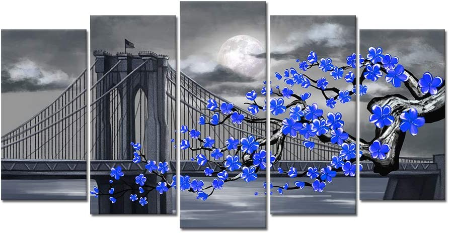 Visual Art Decor Large 5 Pieces Abstract Black White and Blue Flowers with Brooklyn Bridge Landscape Canvas Picture Prints for Modern Home Living Room Office Bedroom Wall Decoration Ready to Hang