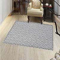 Grey Small Rug Carpet Antique Ornate Oriental Floral Motifs Ethnic Retro Pattern in Modern Graphic Boho Art Door mat Indoors Bathroom Mats Non Slip 2x3 Gray White