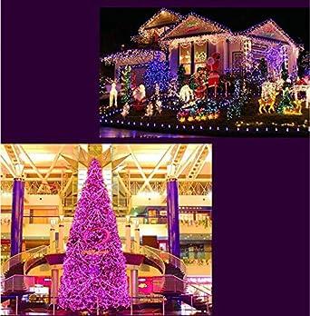 Acobonline luces de Navidad para la decoraci/ón de fiestas,bodas,Luces rosa Decoraci/ón Boda,cable Transparente Iluminaci/ón de Navidad de Interior para Arbol de Navidad 140 LED 12.5M