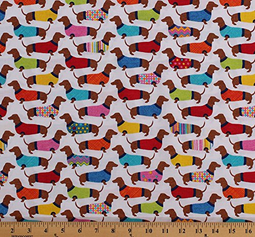 Cotton Dachshunds Dogs in Sweaters Animals Pets White Cotton Fabric Print by the Yard (DOG-C3996-WHITE)