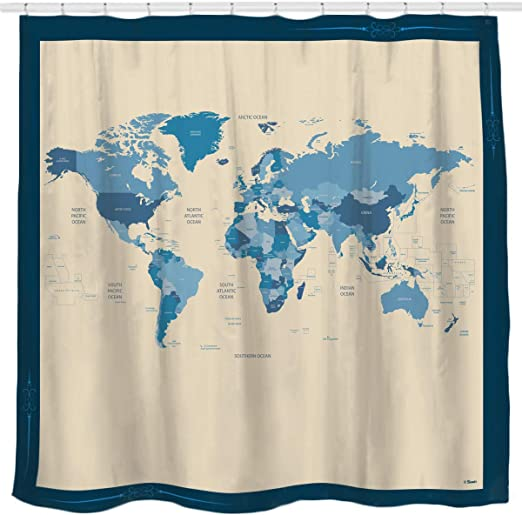 Sunlit Designer New World Map Quality Fabric Shower Curtain with Countries on world map tester, world map costume, world map dresses, world map size, world map vintage, world map modern, world map business, world map gold, world map bedroom decor, world map retail, world map illustrator, world map cook, world map color, world map creator, world map sports, world map rain, world map photography, world map teacher, world map design, world map name,