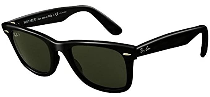 ad0d87525a Amazon.com  Ray-Ban Original Wayfarer RB 2140 Sunglasses Black Crystal Green  Polarized (901 58) 50mm   HDO Cleaning Carekit Bundle  Clothing