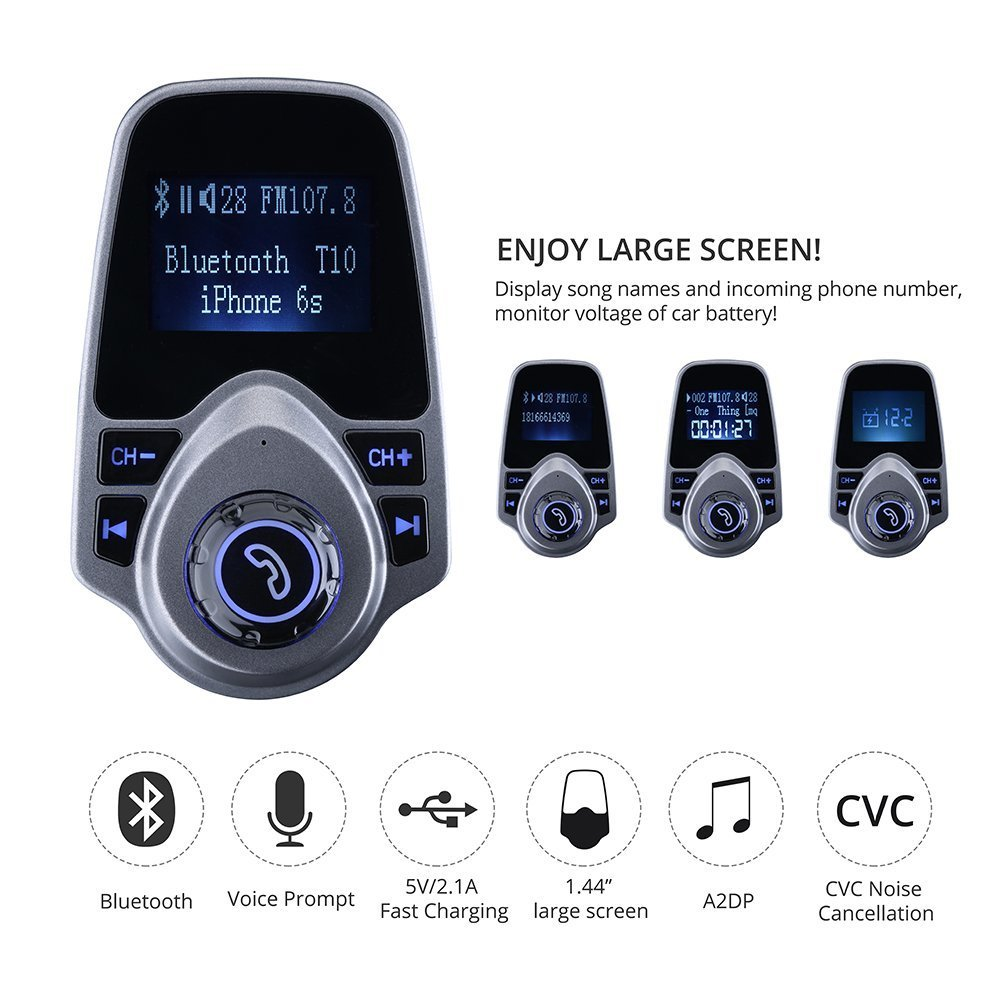 FM T10 Bluetooth Wireless Transmitter Car Kit MP3 Player 3 5mm In-car FM  Transmitter For All Smartphone