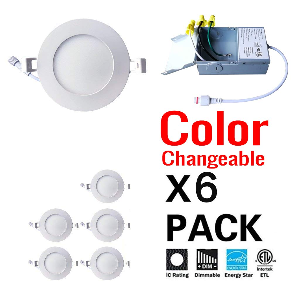 6Pack 3K-4K-5K GCNLIGHT 4 Inch CCT Color Changeable Dimmable 9W LED Recessed Potlight,ETL Energy Star Listed 750LM IC Rated LED Slim Panel,3000K,4000K and 5000K all in one LED Downlights//LED Ceiling Light with Junction Box