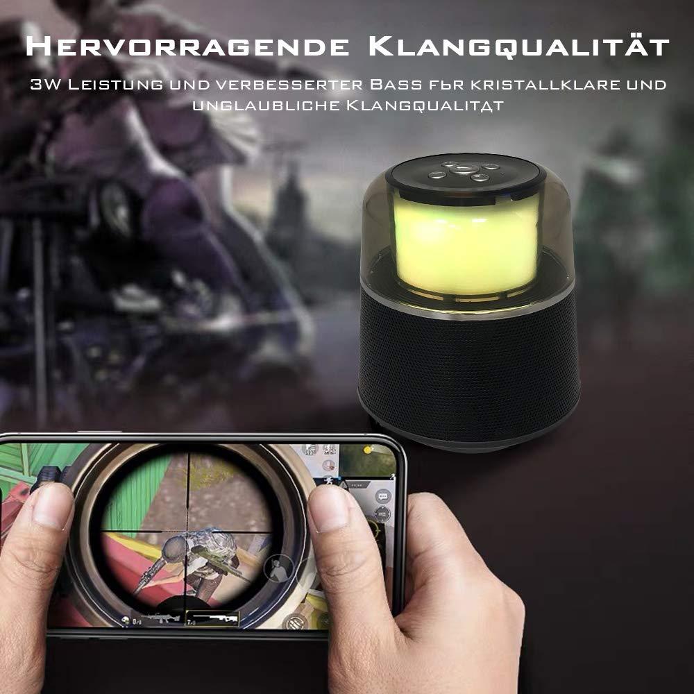 Portable Bluetooth Lautsprecher, Mini Super Mobiler Bluetooth 4.2 Lautsprecher mit Eingebautem Mikrofon,FM Radio, Freisprechanruf, LED-Licht, 3,5mm Audio-Eingang, TF-Kartensteckplatz (Schwarz)