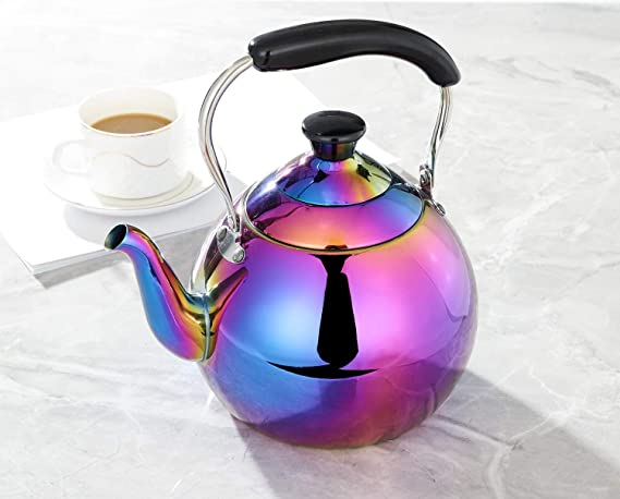 ROYDOM Whistling Tea Kettle Stainless Steel Teapot, 2-Liter Rainbow Teakettle for Stovetop Induction Stove Top, Fast Boiling Heat Water Tea Pot Maker ...