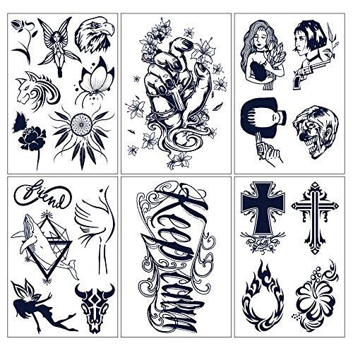 glaryyears Semi Permanent Tattoo Sticker - 6 Pieces/Set Temporary Tat Stickers 22 Tattoo Designs Dream Catcher Butterfly Symbols Long lasting Waterproof for Women Men