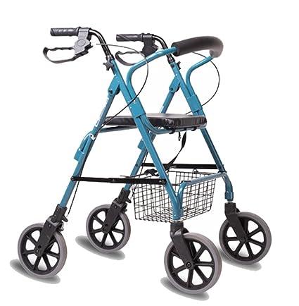 Andador de acero inoxidable azul colores Walker plegable con ...