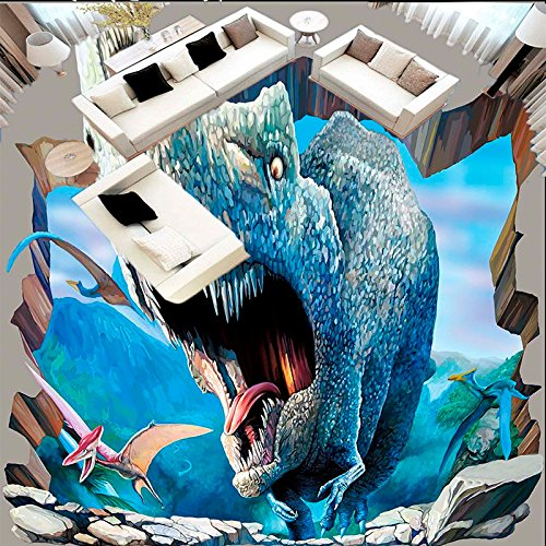 LHDLily 3D Wallpaper Mural Giant 3D High-Definition Dinosaur World 3D Outdoor Stereoscopic Painting ()