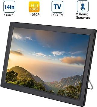 TV digital para automóvil,ATV/UHF/VHF TV LCD portátil 1080p DVB-T/T2 de 14 pulgadas,TV con altavoces dobles para caravana,camping,exterior,cocina,admite entrada/salida AV,tarjeta SD/MMC,USB,HDMI,VGA: Amazon.es: Electrónica