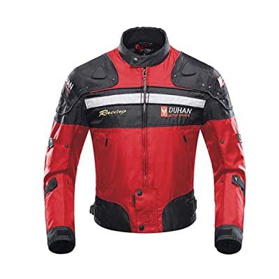 Motorcycle Jacket Motorbike Riding Jacket Windproof Motorcycle Full Body Protective Gear Armor Autumn Winter Moto Clothing (Red, L): Automotive