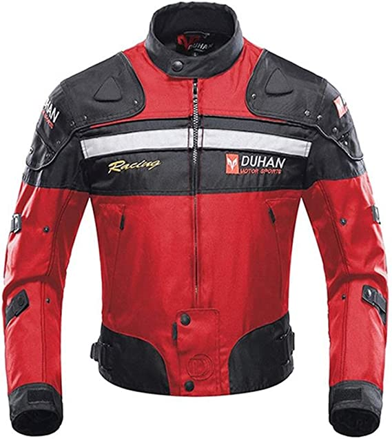 Motorcycle Jacket Motorbike Riding Jacket Windproof Motorcycle Full Body Protective Gear Armor Autumn Winter Moto Clothing (Red
