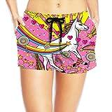 PPANFKEI Hippie Hip Hop Elastic Womens Boardshorts Swim Trunks Tropical Workout Board Shorts Swimming Trunks