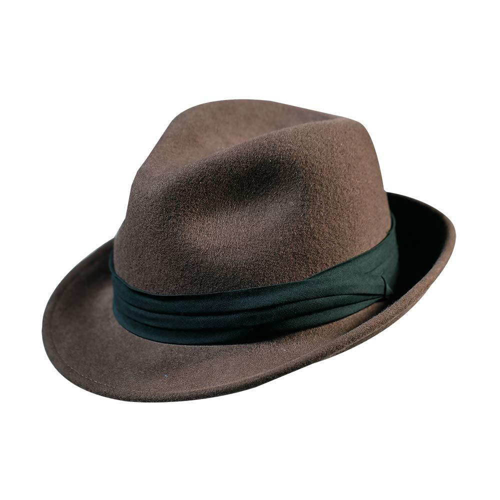 Fedora Hat-100% Wool Trilby Man's Felt Classic Manhattan Short Brim Cap for Women and Men