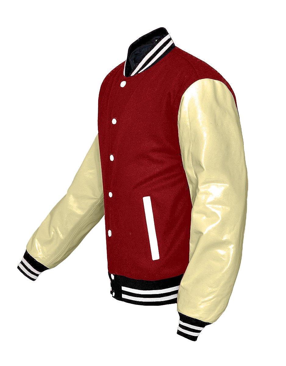 luvsecretlingerie Original American Varsity Real Cream Leather Letterman College Baseball Kid Wool Jackets #C-W-W