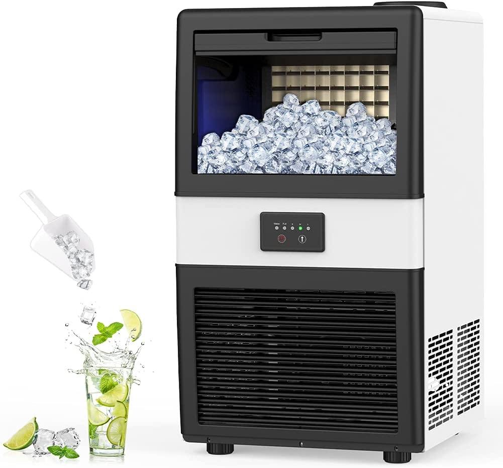 LifePlus Commercial Ice Maker Machine – 70lbs/24H, 32 Ice Cubes in 11-20 Minutes, Freestanding Undercounter Ice Machine with 17lbs Storage Bin, 2 Ways Add Water for Bar Home Kitchen Office Restaurant