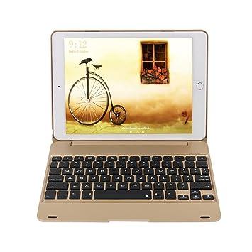 dingrich iPad Pro 9.7 Keyboard Case, Slim acabado de aluminio carcasa de plástico duro Funda