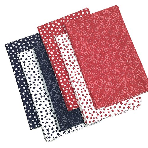 Patriotic Fat Quarter Bundle 6 Cotton Fabrics Red White Blue 18x21-Inches ()