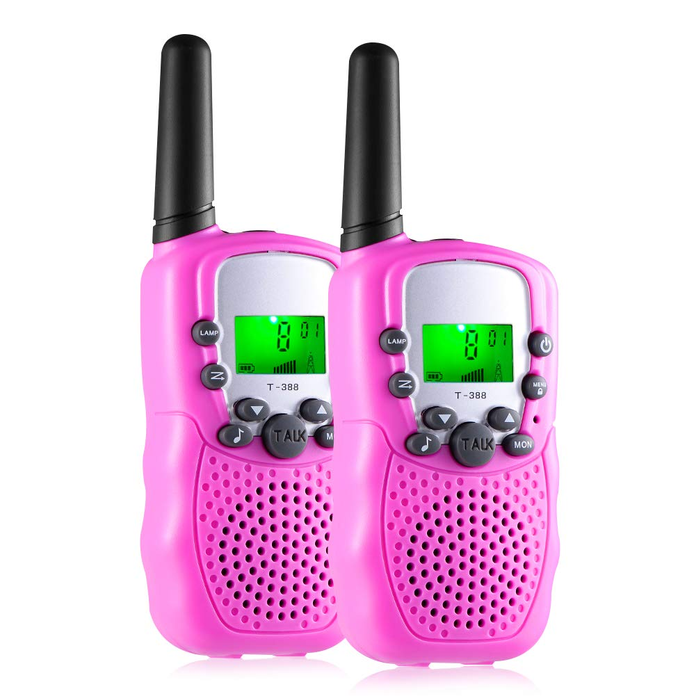 Gifts for 3-12 Year Old Girls, Kids Walkie Talkies 22 Channels 2 Way Radio 3 Miles Range Toys for 4-9 Year Old Girls Boys Outdoor Adventures Hiking Camping (Pink, 2 Pack)