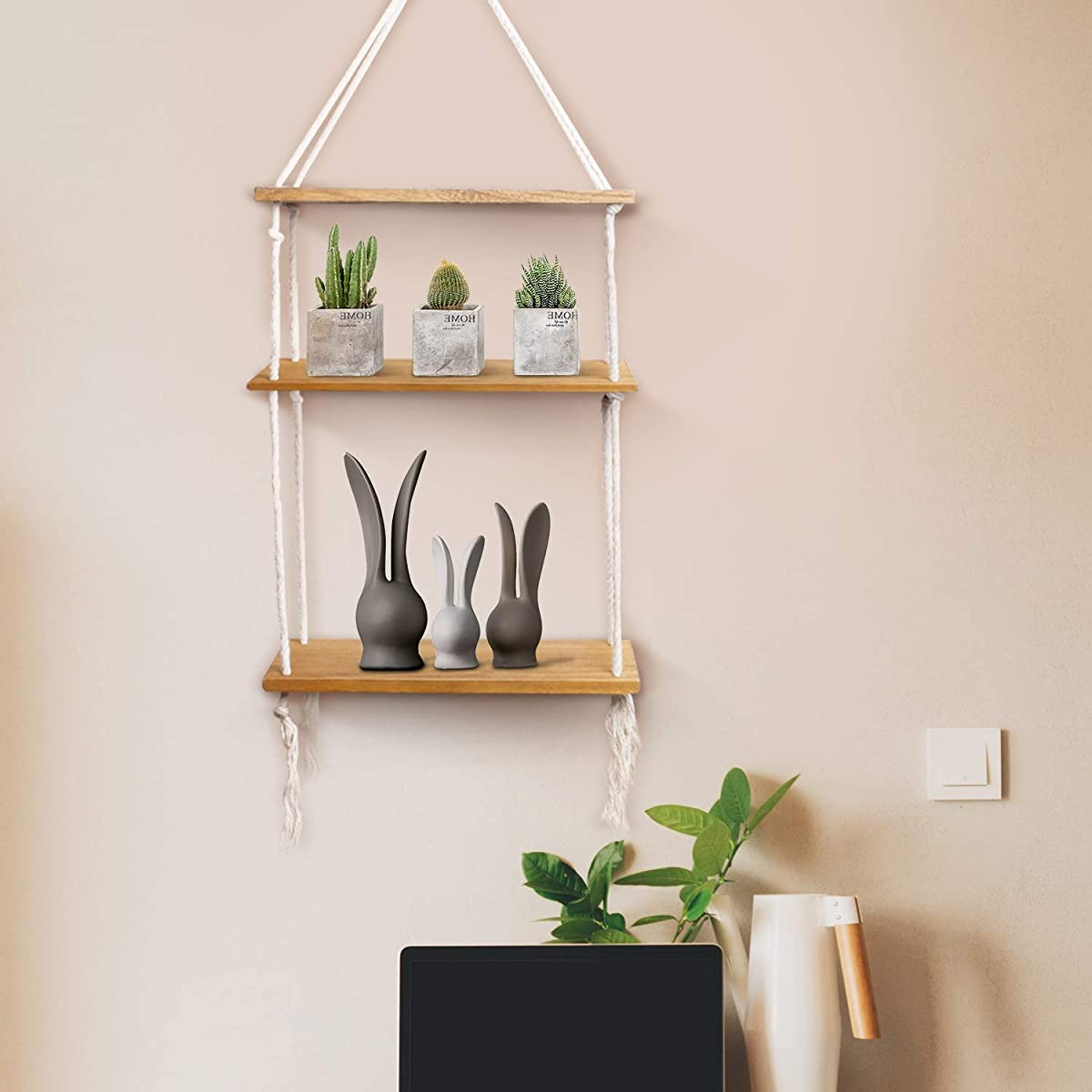 Surophy Floating Wood Shelves, 3-Tier Wall Mount Hanging Shelves Book Shelves Industrial Wood Book Shelves Storage, Display & Decor for Bedroom, Living Room, Dining Room, Kitchen, Bedroom, Home