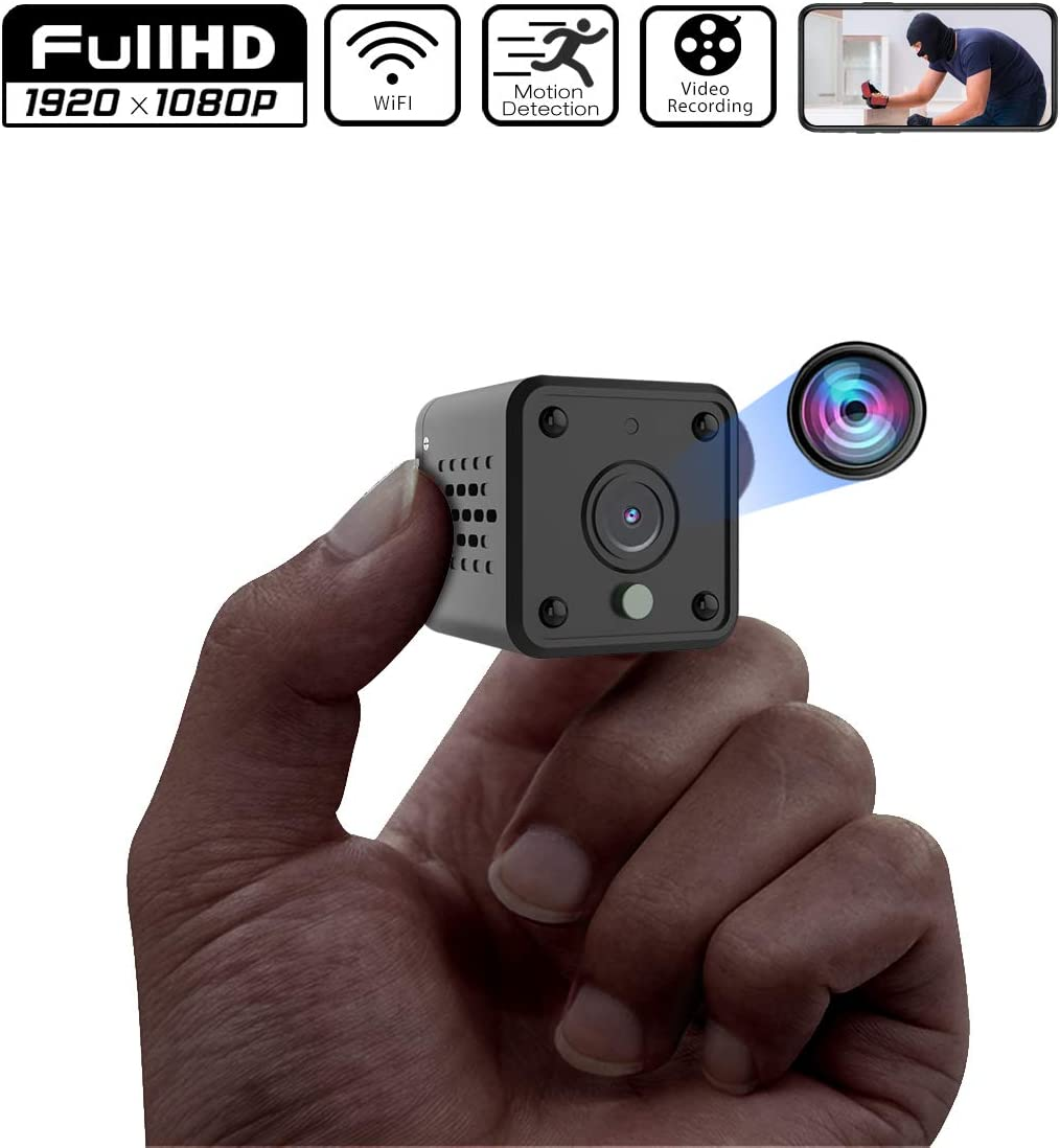 Mini Camera, Full HD 1080P Hidden Camera, Micro Spy Camera with Motion Detection and Infrared Night Vision, WiFi Remote View Wireless Nanny Cam, Compact Security Camera for Indoor and Outdoor Black