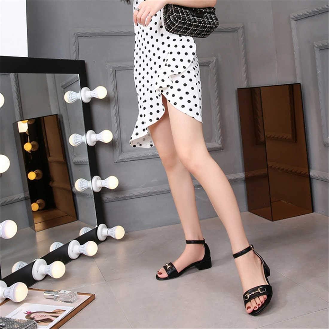 BZBZBZ Les Femmes de Grande Taille Pompe Ankel Sangles Sandales 3.5cm Chunkly Talon Ouvert Toe Court Casual Shoes EU Taille 32-43 black