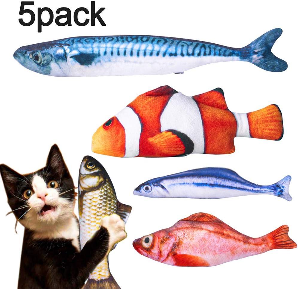 Dioxide Hierba Gatera Juguete, 5PCS Simulación de Peces de Peluche Juguetes Interactivos para Gatos, Almohada de Gato Catnip Fish Toy Chew del Gato para Gatos, Perro