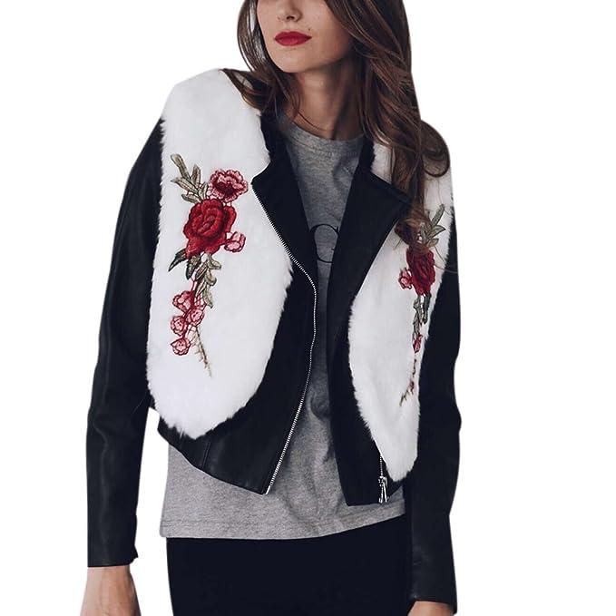 iBaste Chaleco Mujer Pelo Sintético Corto Rosa Bordado Chaqueta de Pelo Invierno Elegantes Chaquetas: Amazon.es: Ropa y accesorios
