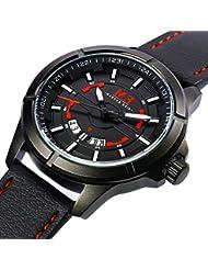 Mens Fashion Analog Watch Genuine Leather Strap Luminous Hands Auto Date Quartz 30M Waterproof Wrist watches