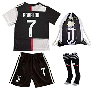 promo code 60eaf fb6be JERS7-JUVES Juventus Home #7 Ronaldo 19/20 Kids/Youth Soccer Jersey &  Shorts & Socks Black and Drawstring Ball Bag