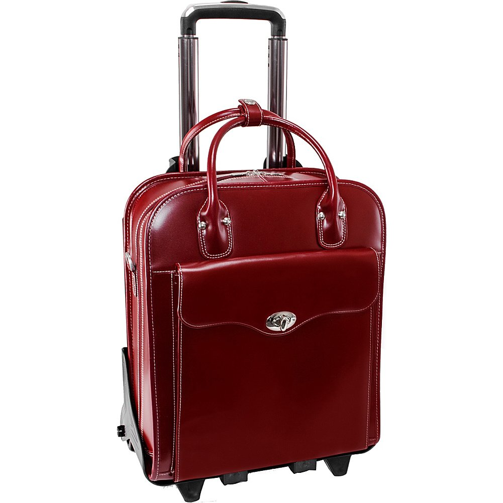 McKlein USA Melrose 15'' Vertical Rolling Leather Laptop Tote EXCLUSIVE (Red)