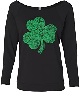 816d5f155b0 Threadrock Women s Distressed Green Shamrock Raw-Edge Raglan Shirt