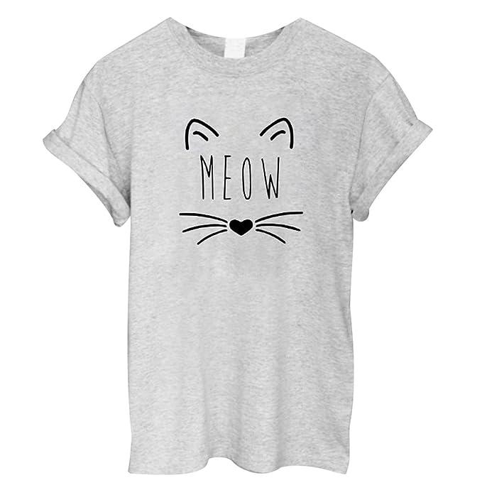Haomei T Shirt Damen Katze Print T Shirts Kurzarm Frauen Bedruckt Weite  Sommershirts Oversize Tops Damen Sommer Oberteile Lockere Lässige Oberteil  ... a5a564f70e