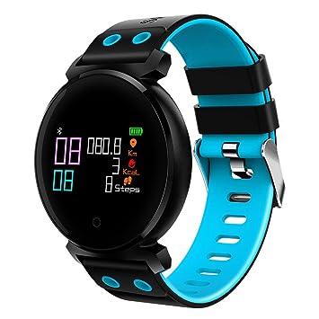 QHJ Bluetooth Smart reloj IP68 resistente al agua Fitness Tracker Tensiómetro Pulsómetro, azul