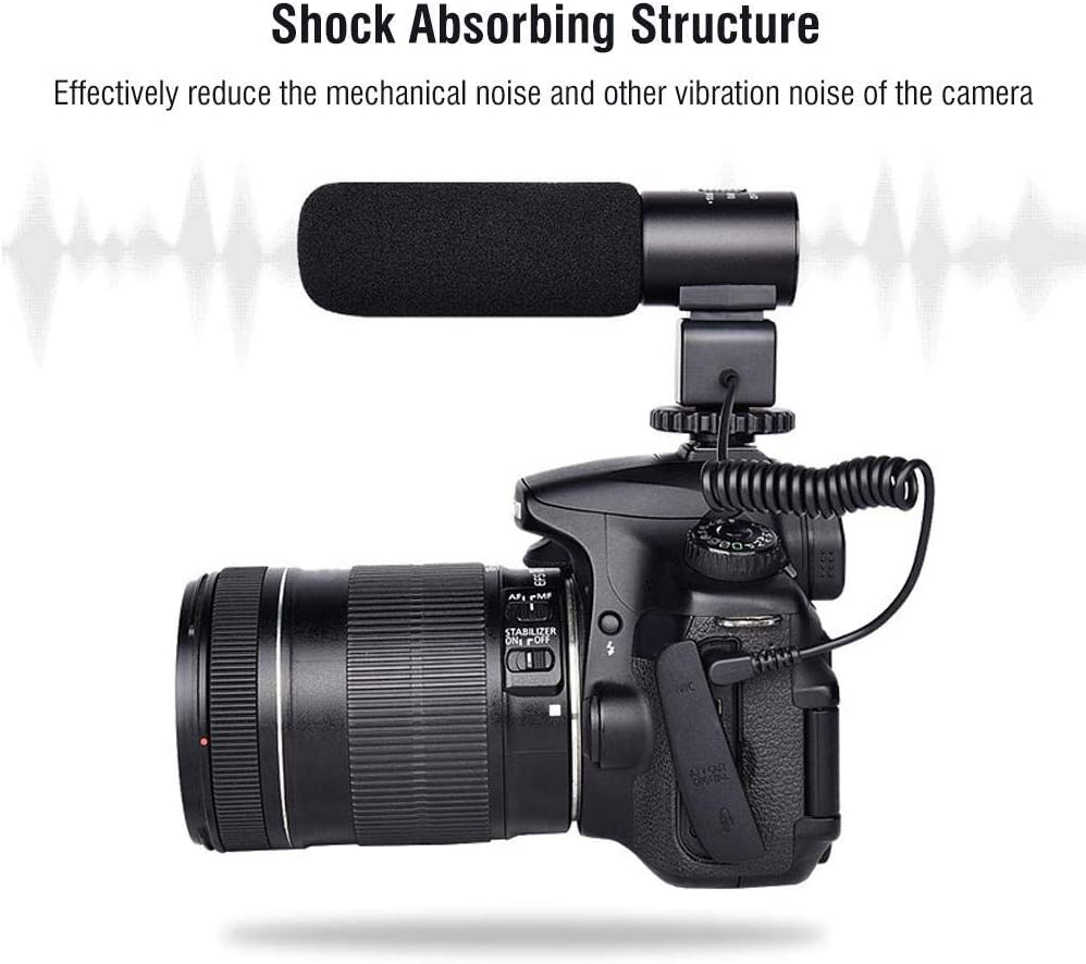 Semme Microphone for Camera Camcorders MIC03 Portable Condenser Microphone with Windsheid for Camera Camcorder