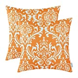 Pack of 2 CaliTime Cushion Covers Throw Pillow Cases Shells 18 X 18 Inches, Vintage Damask Floral, Orange
