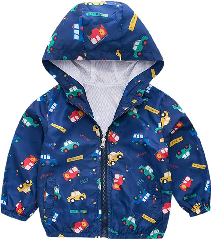 wuayi Kinder Junge Mantel Junge Cartoon-Auto-Stern Drucken Winddicht Mit Kapuze Mantel Winter Boy Windproof Jacke Kid Coat