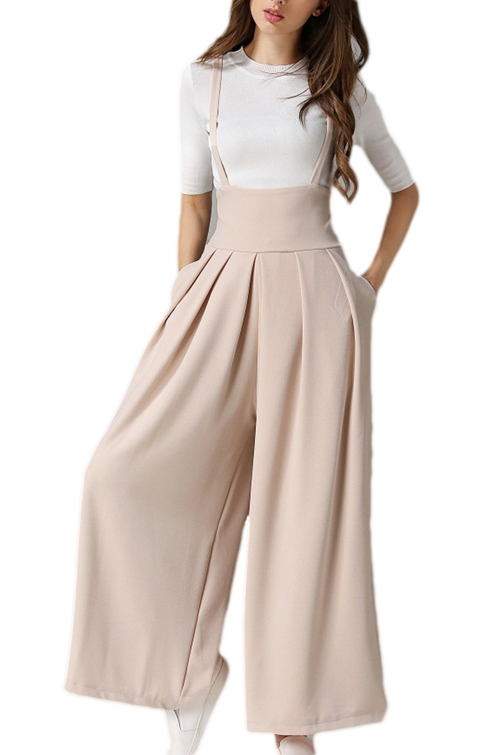 Women High Waist Jumpsuit Wide Leg Pleated Palazzo Trousers Overalls Suspender Pants CAESJY510