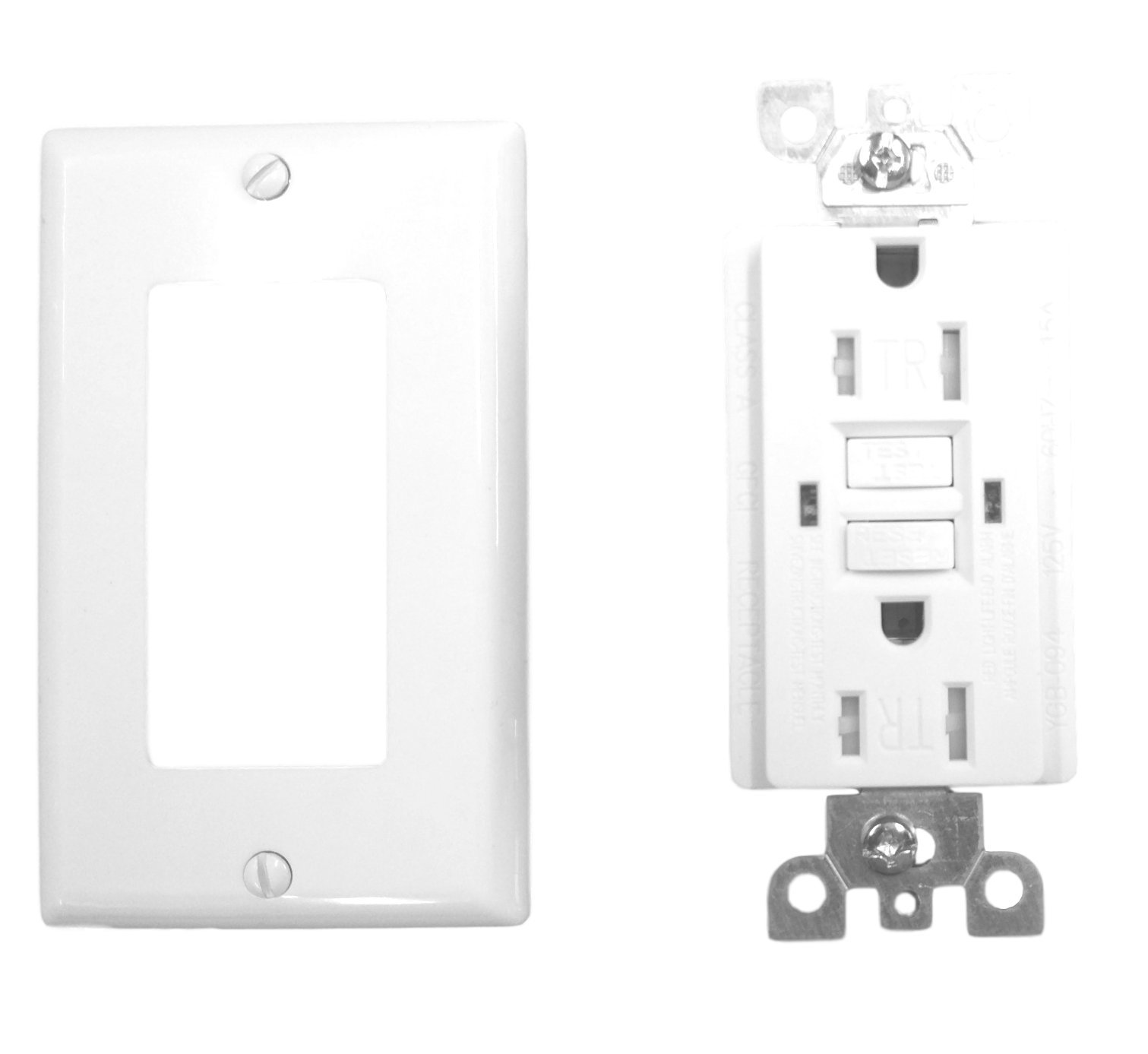 15 Amp GFCI Receptacle Outlet w/LED & Wallplate UL2015 (Pack of 5)