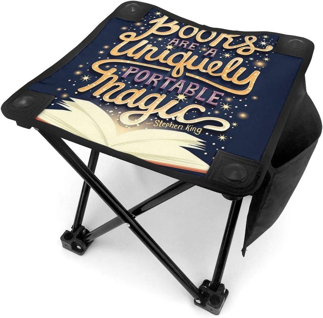 ZhangRui-111 Books Are Magic - Taburete Plegable pequeño portátil, Silla Plegable para Exteriores, Taburete Plegable para Camping, Pesca, Acampada, Viajes
