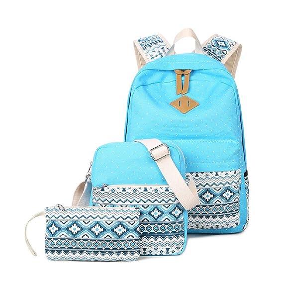 2937748b02b8 Abshoo Canvas Dot Backpack Cute Lightweight Teen Girls Backpacks School  Shoulder Bags (Sky Blue)  Amazon.ca  Toys   Games