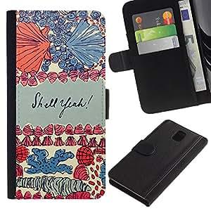 iBinBang / Flip Funda de Cuero Case Cover - Conchas de mar Coral Acuarela Patrón - Samsung Galaxy Note 3 III N9000 N9002 N9005
