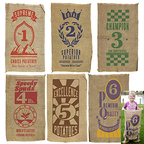 6 PCs Burlap Bags; 40 x 24 Potato Sacks Racing Bags for All Ages Kids & Family, Carnival Games Party Favor, Outdoor Game Activity, Outside Lawn Games Party Supplies Décor Props Decorations.