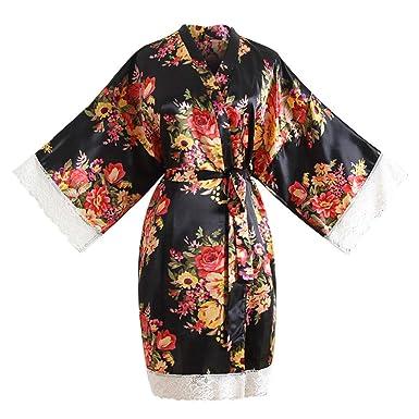 33753831db933 Peignoir Satin Robe de Chambre Kimono , Femme Robe de Nuit Peignoir Satin  Fleurs vêtements Chemise