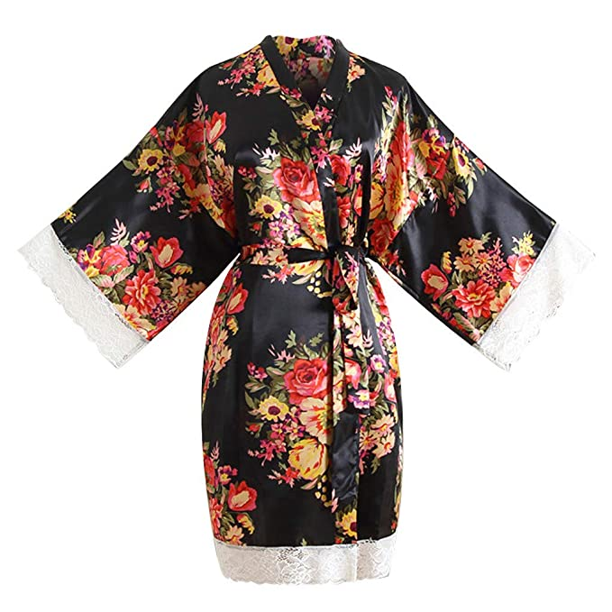 66326935de0 FimKaul Lace Trim Satin Kimono Robes Short Women Floral Nigthwear Dressing  Gown for Bride Bridesmaids Wedding