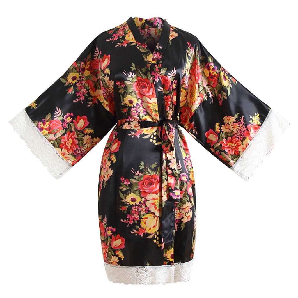 Women Sleepwear Sexy Print Lace Trim Nightdress Kimono Dressing Gown Bath Robe Lingerie Dress (Black)