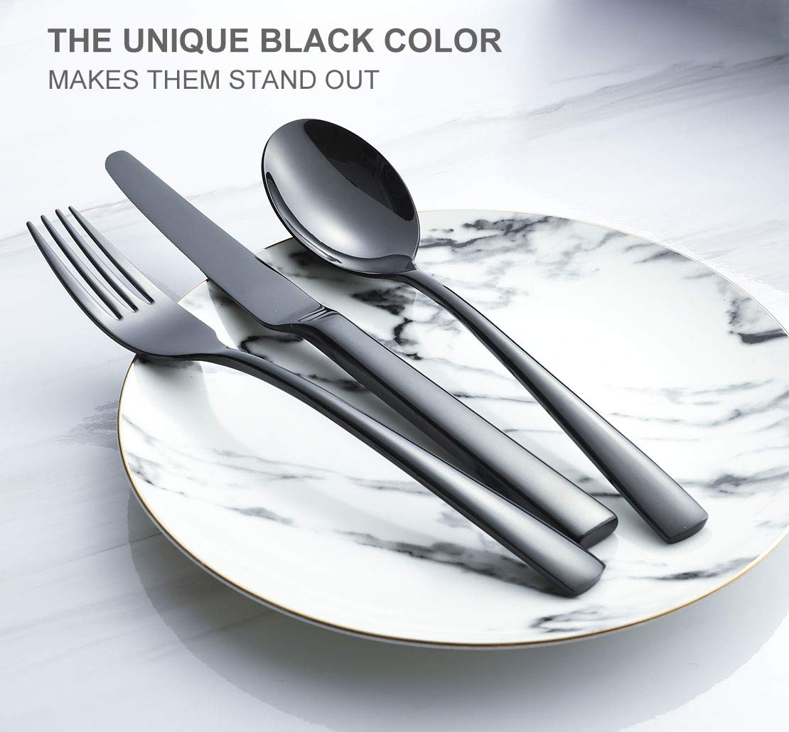 OMGard Black Dinner Fork Set 6 Piece 18//10 Stainless Steel Flatware 8-inch Table Forks Only Service for 6 Heavy Weight Silverware Sets Eating Utensils Cutlery Dishwasher Safe Mirror Finished