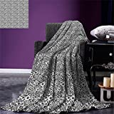 smallbeefly Damask Digital Printing Blanket Cute Daisy Blossoms Paisley Inspired Details Rich Royal Antique Composition Summer Quilt Comforter Dark Taupe White