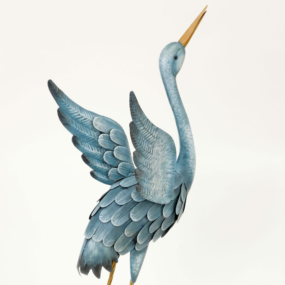 Bits and Pieces - Japanese Blue Heron Metal Garden Sculpture Set - Two Metal Cranes Perfect for Garden Décor - Metal Garden Art, Outdoor Lawn and Patio Décor, Backyard Sculpture, and Decoration.
